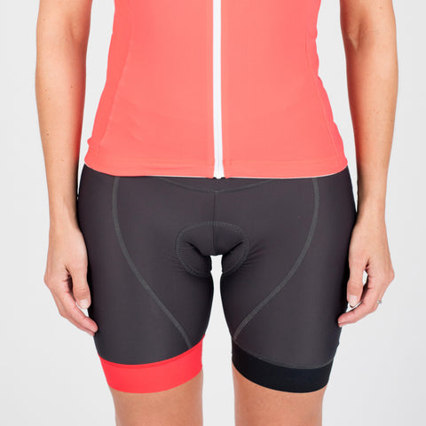 Padded shorts - HOT Coral & Charcoal trim