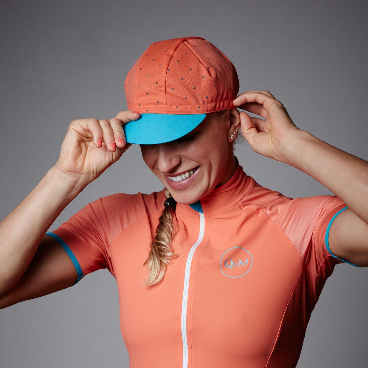 bf122ac14 Women s Cycling Summer Cap - Coral Orange - Queen of the Mountains