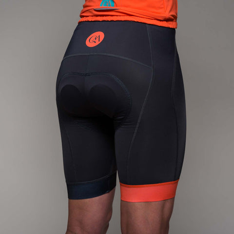 Padded shorts - Charcoal & Coral trim