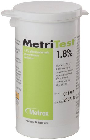 MetriTestª 1.8% Glutaraldehyde Concentration Indicator Pad 60 Test Strips Bottle Single Use