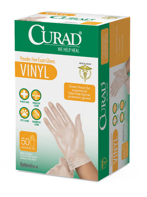 CURAD Powder-Free Vinyl Exam Gloves - CA Only,Clear,One Size Fits Most, Case of