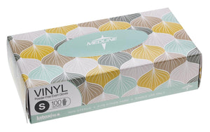 Designer Boxed Vinyl Exam Gloves - CA Only,Clear,Small, Case of 1000