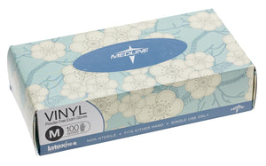 Designer Boxed Vinyl Exam Gloves - CA Only,Clear,Medium, Box of 100