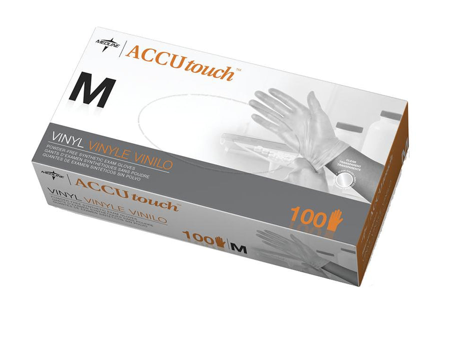 Accutouch Synthetic Exam Gloves - CA Only,Clear,Medium, Case of 1000