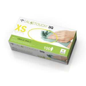 Aloetouch 3G Synthetic Exam Gloves - CA Only,Green,X-Small, Case of 1000