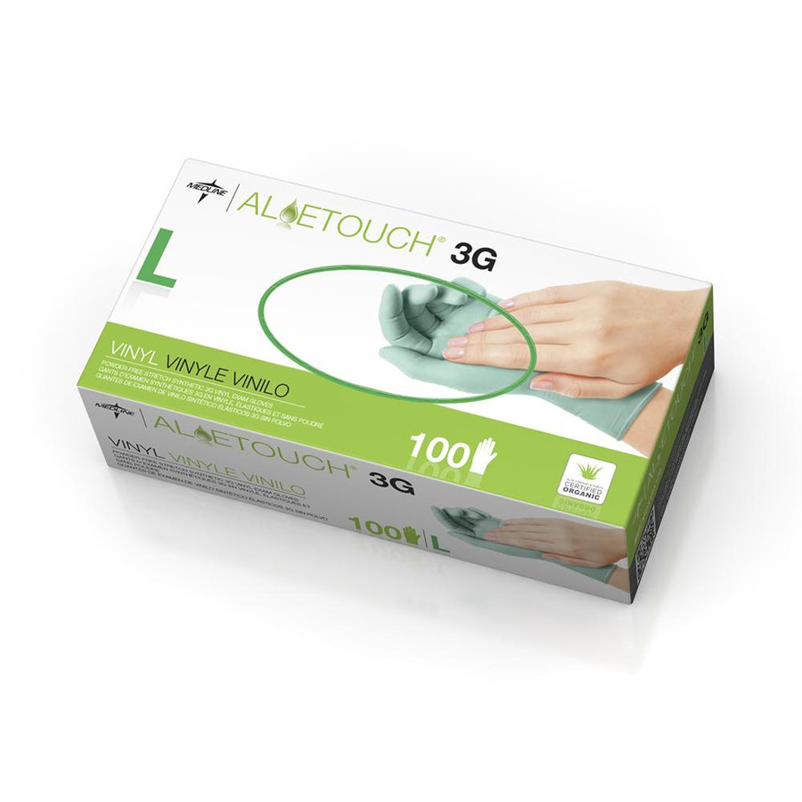 Aloetouch 3G Synthetic Exam Gloves - CA Only,Green,Large, Box of 100