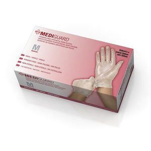 MediGuard Vinyl Synthetic Exam Gloves - CA Only,Clear,Medium, Case of 1500