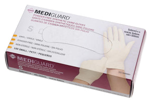 MediGuard Synthetic Exam Gloves - CA Only,Cream,Small, Box of 100