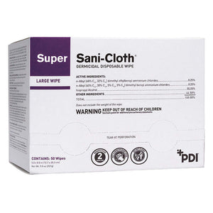 Super Sani-Cloth Germicidal Disposable Wipes by PDI, Inc, Box of 50