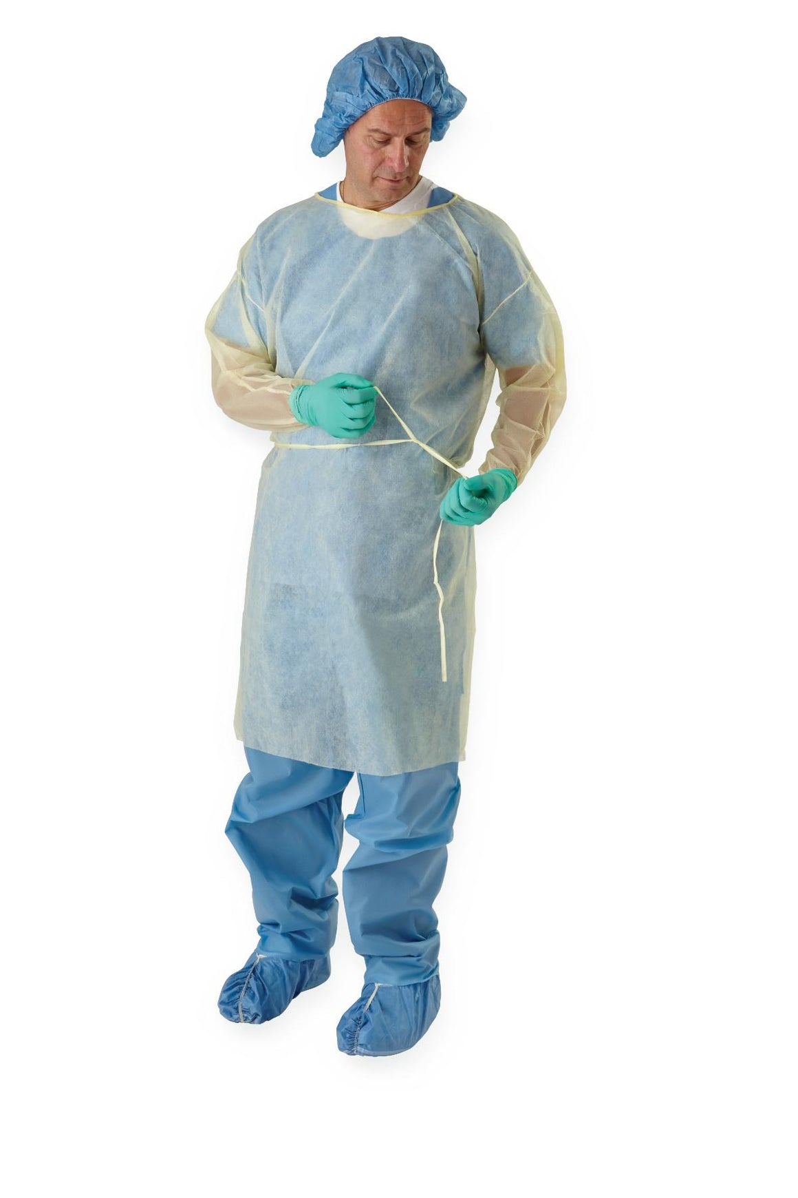 Medium Weight Multi-Ply Fluid Resistant Isolation Gown,Blue,X-Large ...