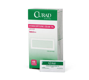 CURAD Hydrocortisone Cream,0.050 OZ, Box of 48