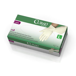 CURAD Powder-Free Textured Latex Exam Gloves,Beige,Large, Box of 100