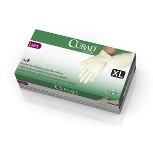 CURAD Powder-Free Textured Latex Exam Gloves,Beige,X-Large, Case of 900