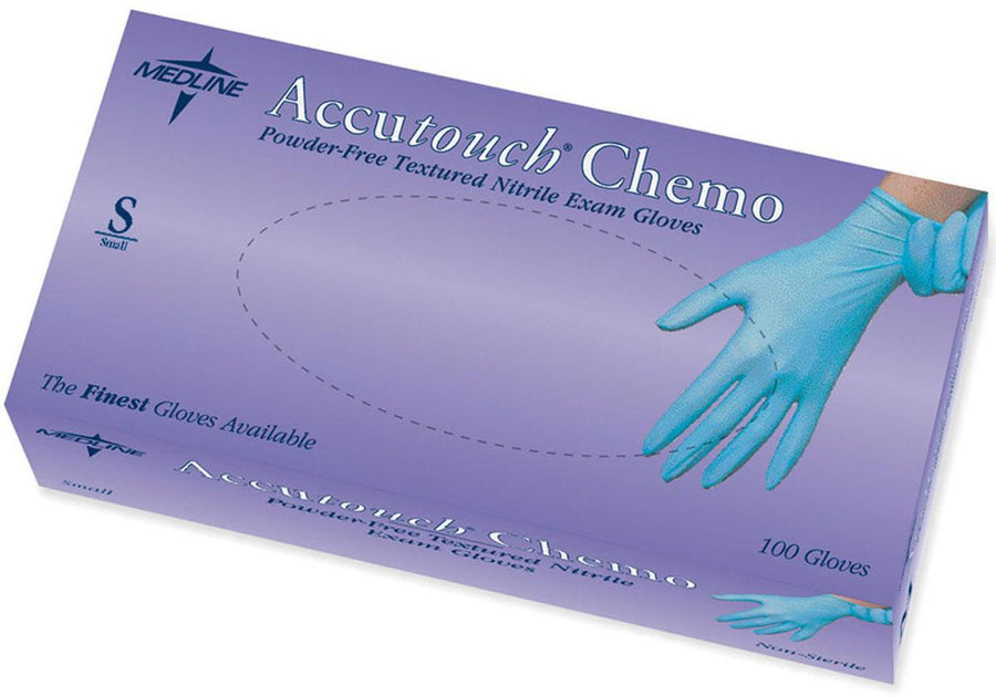 Accutouch Chemo Nitrile Exam Gloves,Blue,Small, Box of 100