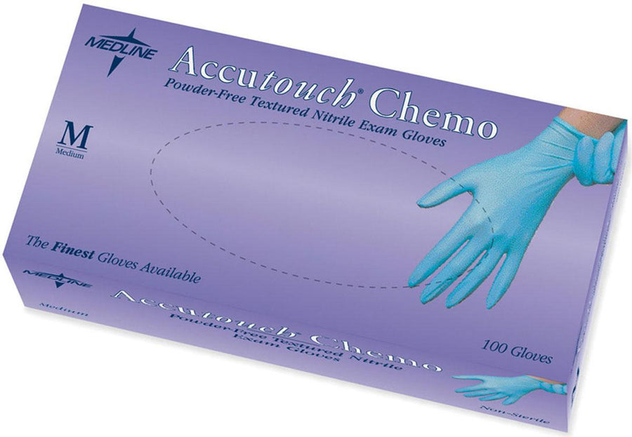 Accutouch Chemo Nitrile Exam Gloves,Blue,Medium, Box of 100