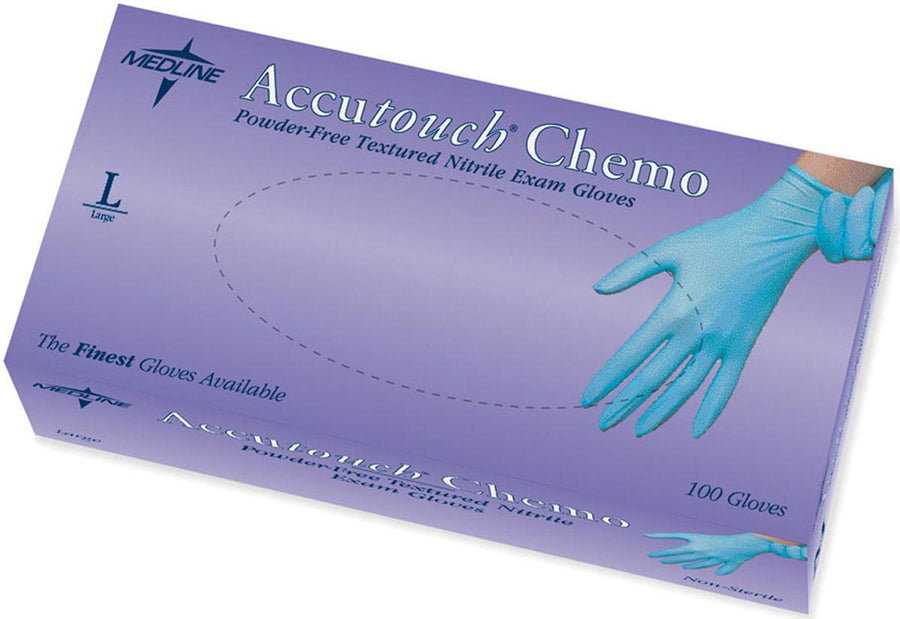 Accutouch Chemo Nitrile Exam Gloves,Blue,Large, Box of 100
