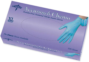 Accutouch Chemo Nitrile Exam Gloves,Blue,X-Large, Box of 100