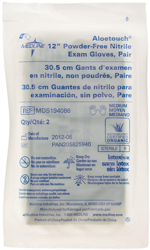 "Aloetouch 12"" Powder-Free Nitrile Exam Gloves,Green,Medium, Case of 200 Pair"