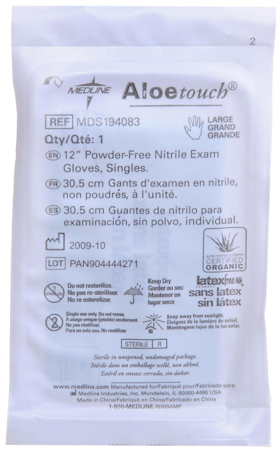 "Aloetouch 12"" Powder-Free Nitrile Exam Gloves,Green,Large, Case of 200 Pair"