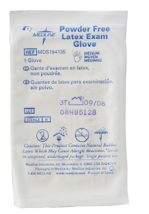 Medline Sterile Powder-Free Latex Exam Gloves,Beige,Medium, Box of 100