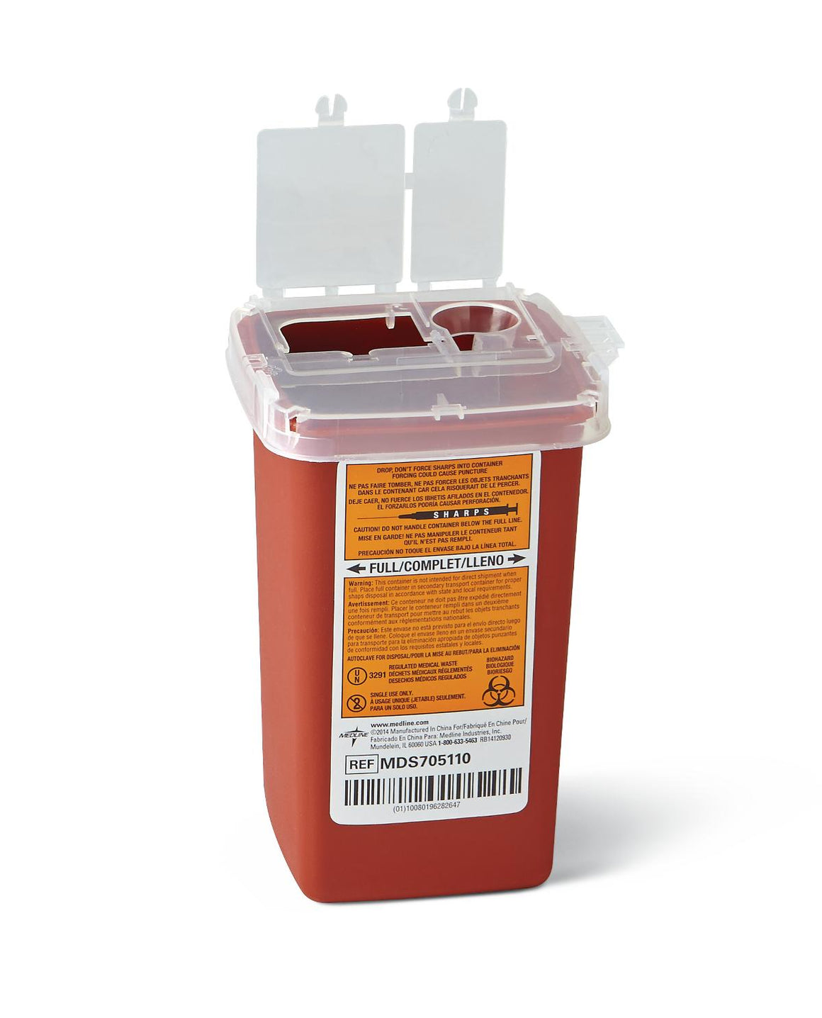 Phlebotomy Sharps Containers,Red,1.000 QT, Case of 100