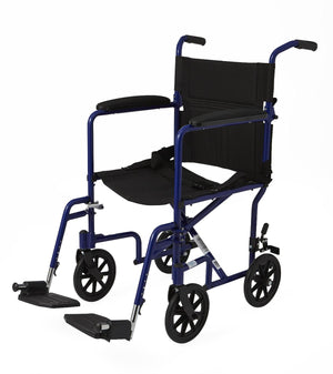 "Aluminum Transport Chair with 8"" Wheels,Blue,F: 8   R: 8, Case of 1"