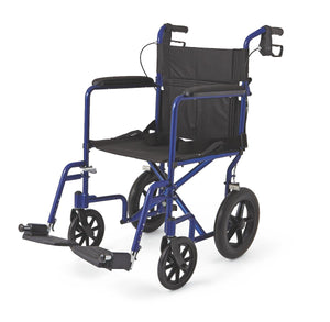 "Aluminum Transport Chair with 12"" Wheels,Blue,F: 8   R: 12, Case of 1"