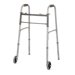 "Two-Button Folding Walkers with 5"" Wheels,5"", Case of 4"