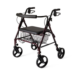 "Standard Bariatric Heavy Duty Rollator,Burgundy,8"", Each"