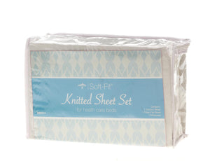Soft-Fit Knitted Contour Sheets,White, Case of 6 set