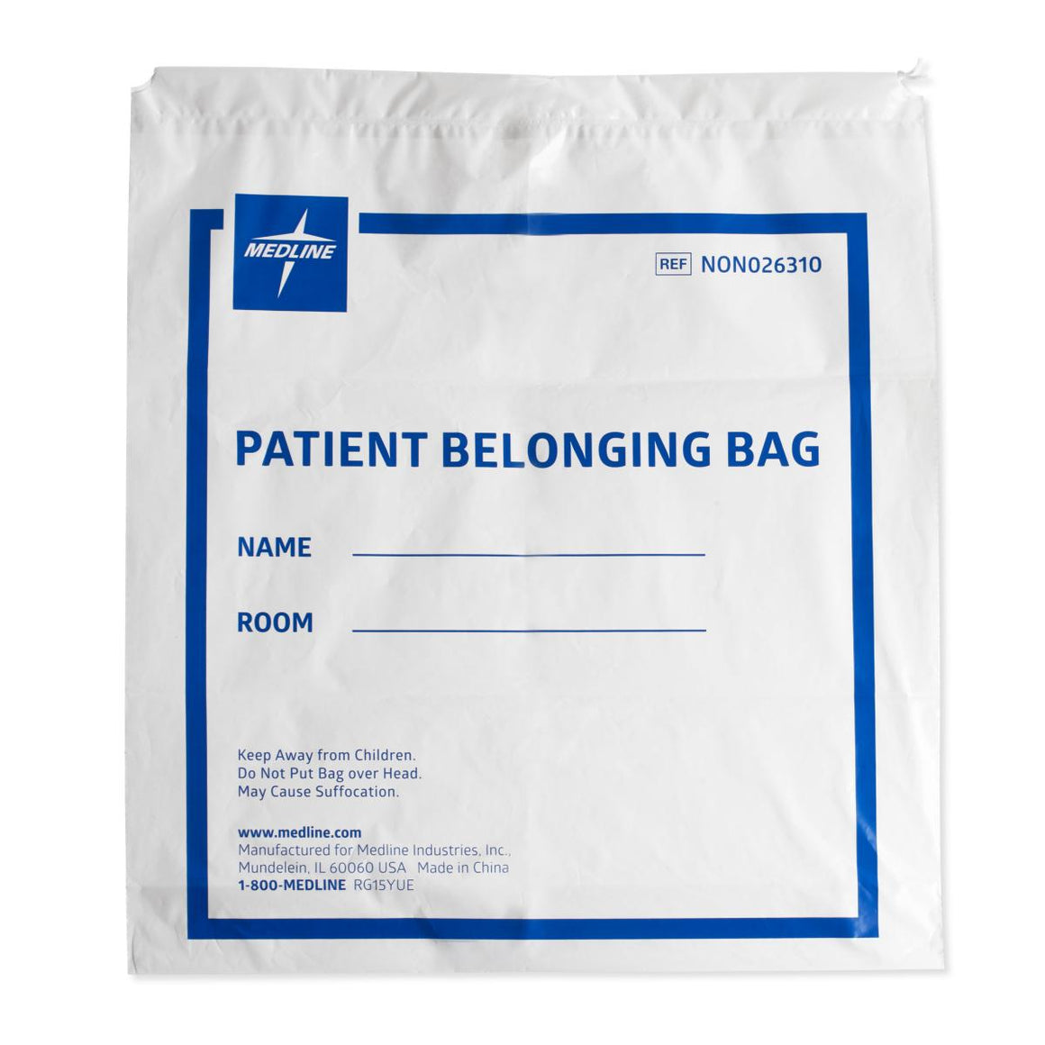 Drawstring Patient Belongings Bags,White, Case of 250