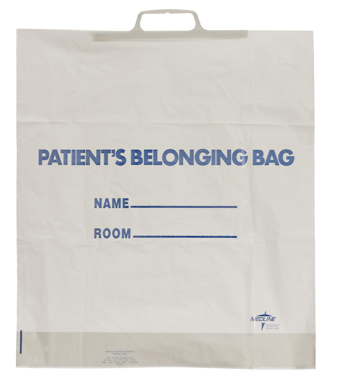 Rigid Handle Patient Belongings Bags,White, Case of 250