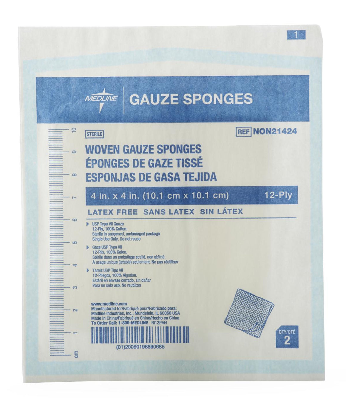 Woven Sterile Gauze Sponges, Case of 1200