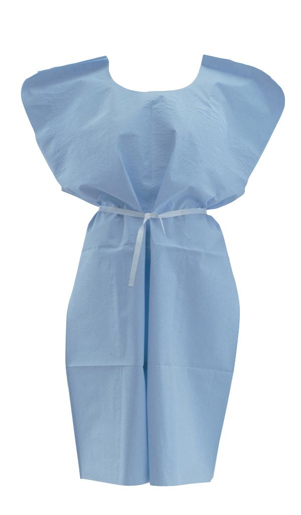 Disposable Patient Gowns,Blue,Regular/Large, Case of 50