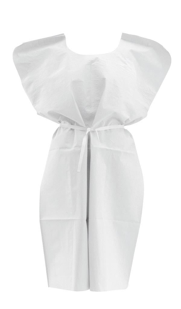Disposable Patient Gowns,White,Regular/Large, Case of 50