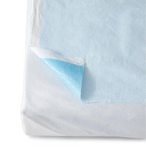 Disposable Tissue/Poly Flat Stretcher Sheets,Blue, Case of 50