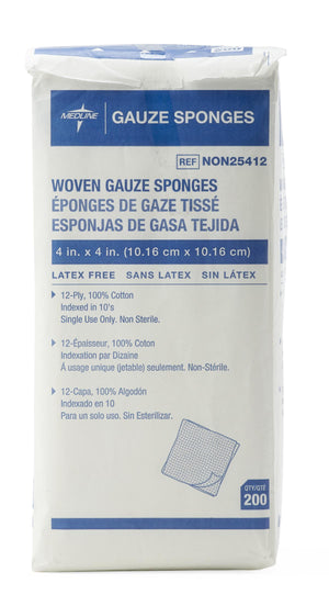 Woven Non-Sterile Gauze Sponges, Pack of 200