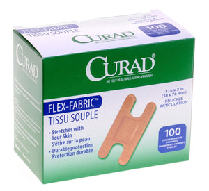 CURAD Fabric Adhesive Bandages,Natural,No, Box of 100