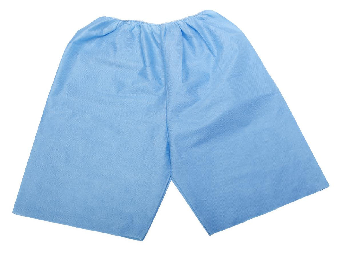 Disposable Exam Shorts,Blue,Medium, Case of 30