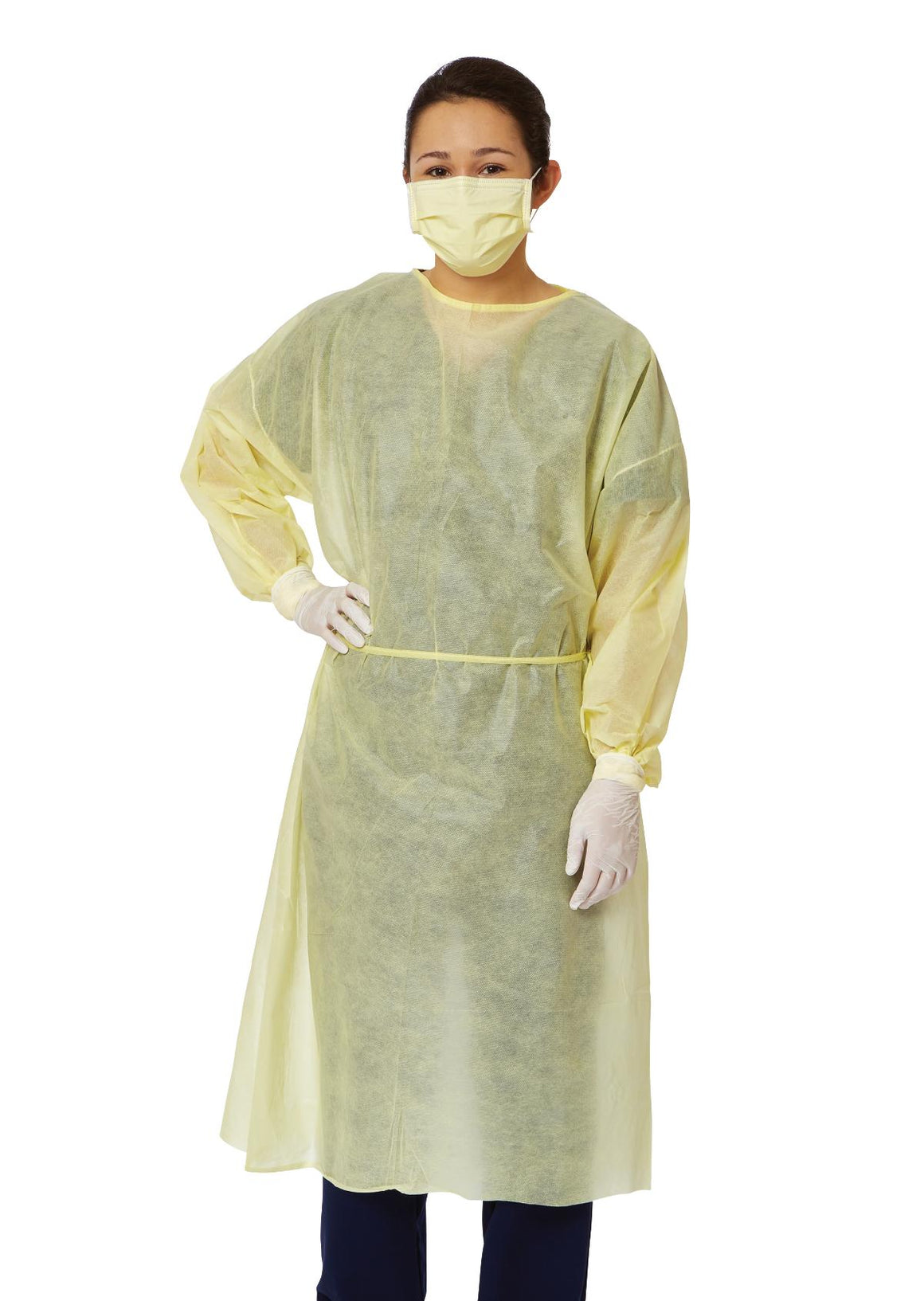 Medium Weight Multi-Ply Fluid Resistant Isolation Gown,Yellow,Regular/Large, Cas