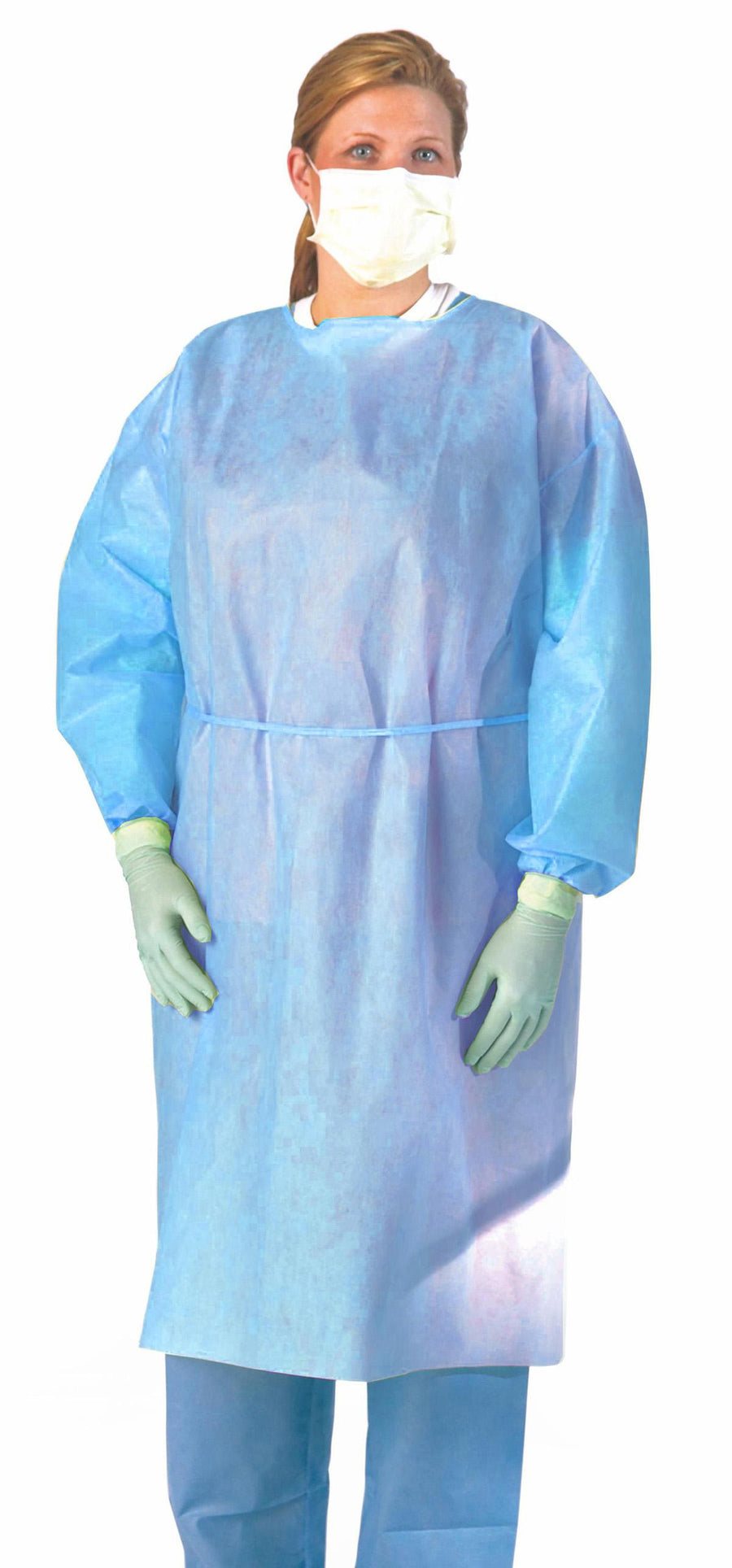 Medium Weight Multi-Ply Fluid Resistant Isolation Gown,Blue,X-Large, Case of 100