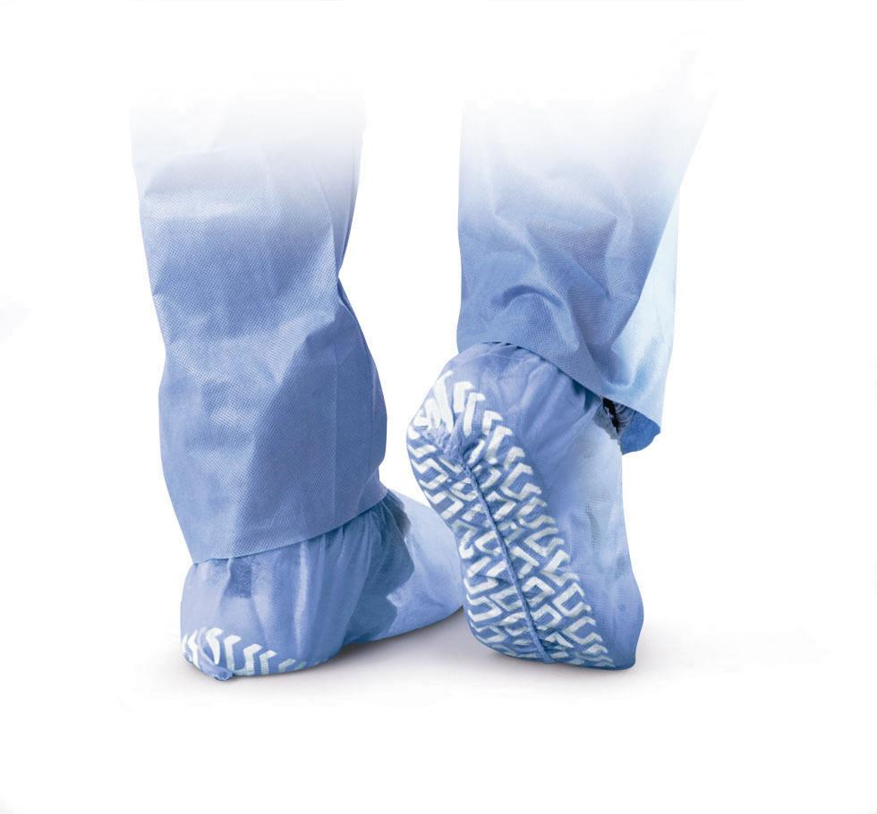 Non-Skid Polypropylene Shoe Covers,Blue,Regular/Large, Box of 100