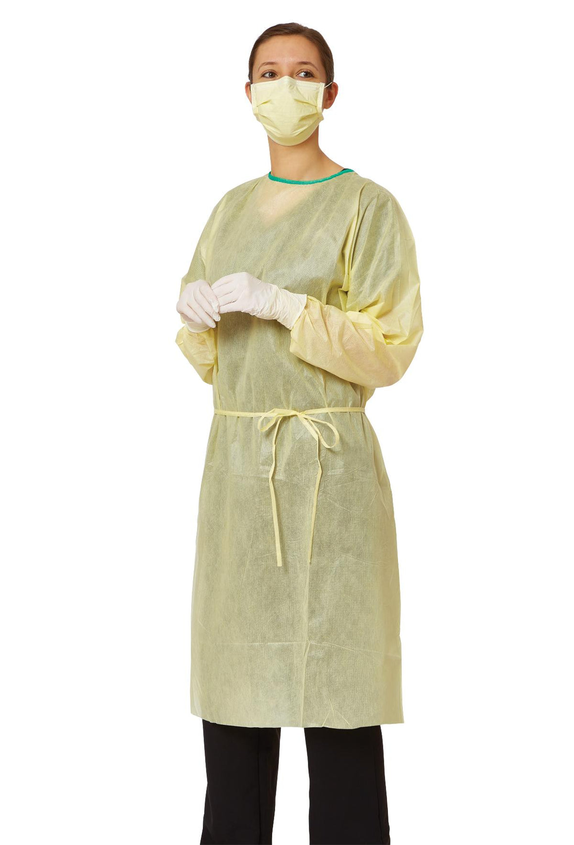 AAMI Level 2 Isolation Gowns,Yellow,Regular/Large, Case of 100