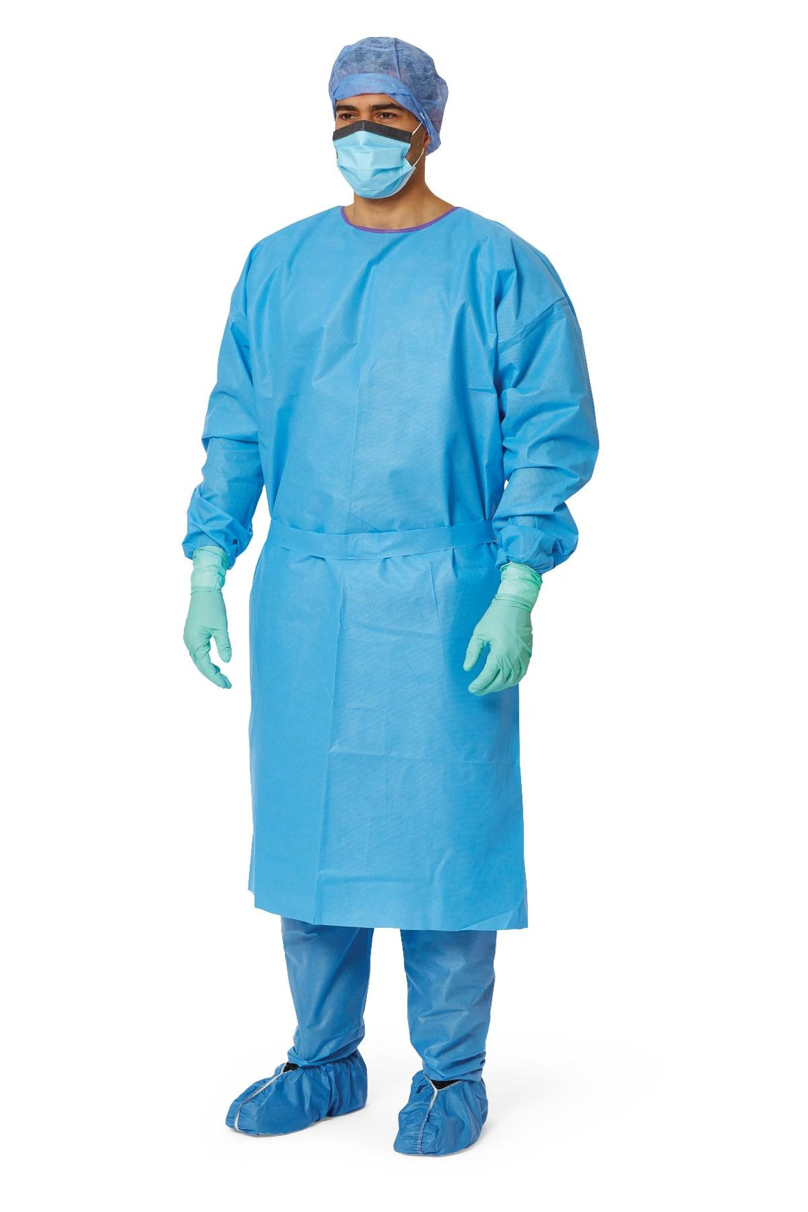 AAMI Level 3 Isolation Gowns,Blue,X-Large, Case of 50