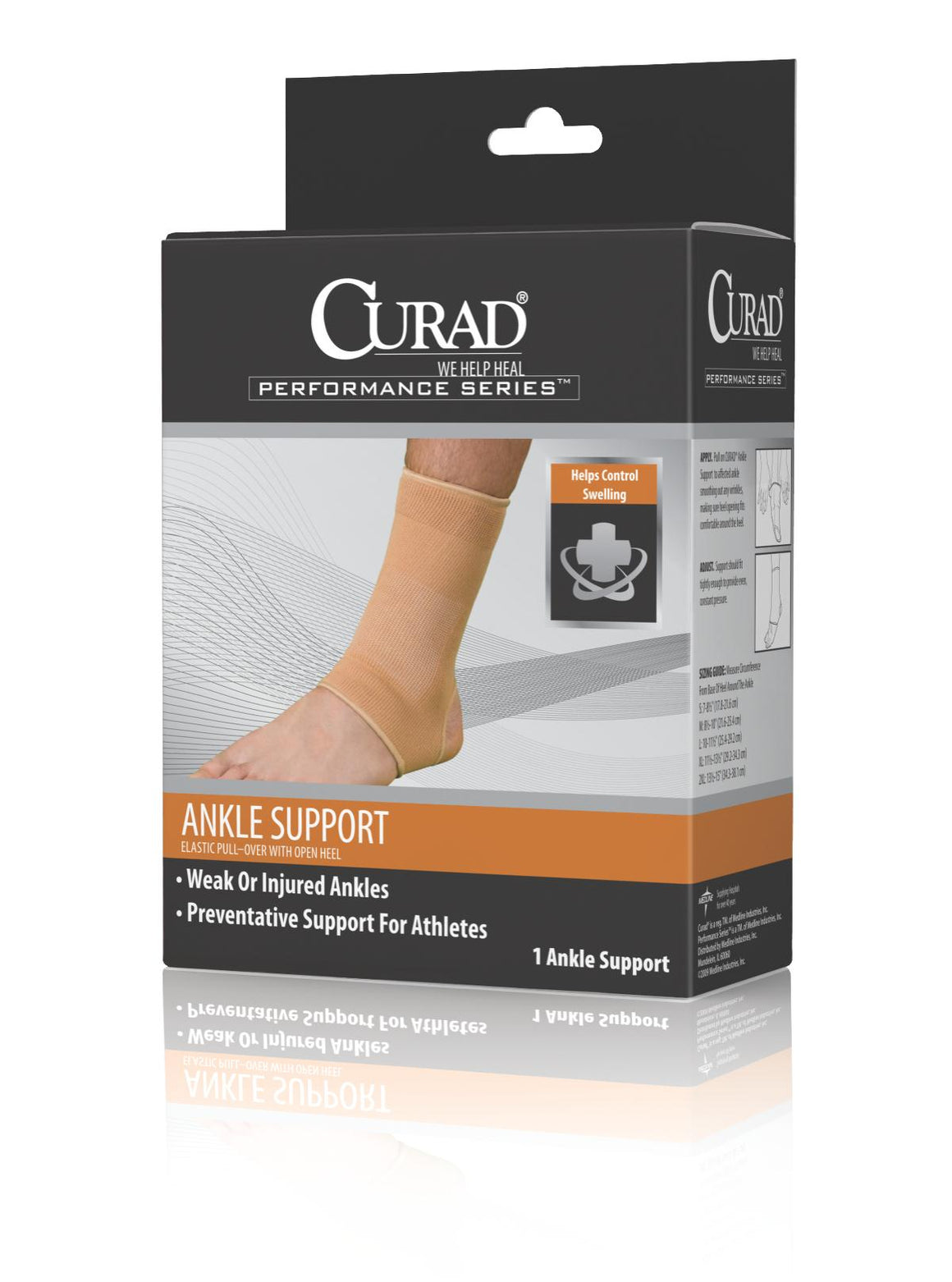 CURAD Elastic Open Heel Ankle Supports,Beige,Medium, Each