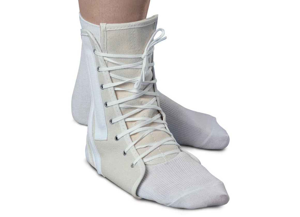 Lace-Up Ankle Supports,White,Large, Each