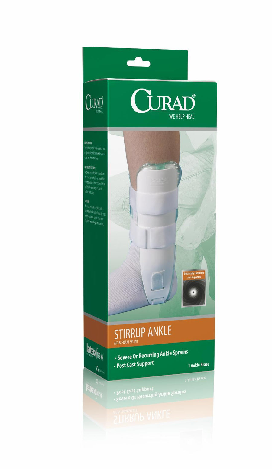 CURAD Universal Stirrup Ankle Splints,White,Universal, Case of 4