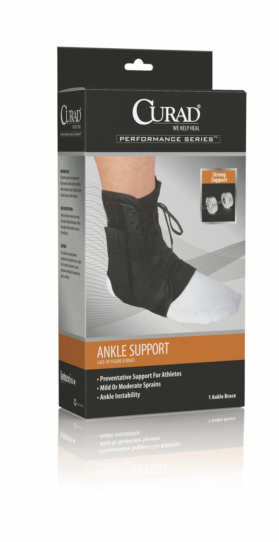 CURAD Lace-Up Ankle Splints,Black,Large, Case of 4