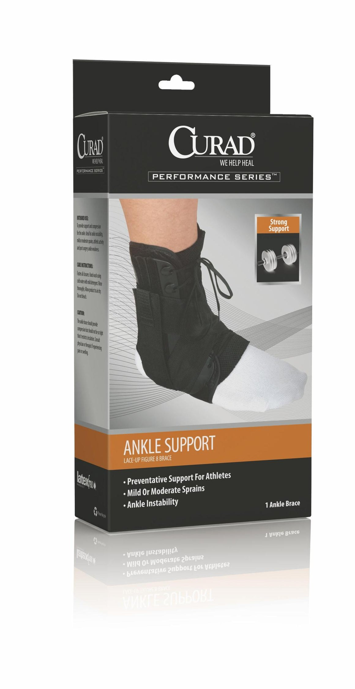 CURAD Lace-Up Ankle Splints,Black,Medium, Case of 4