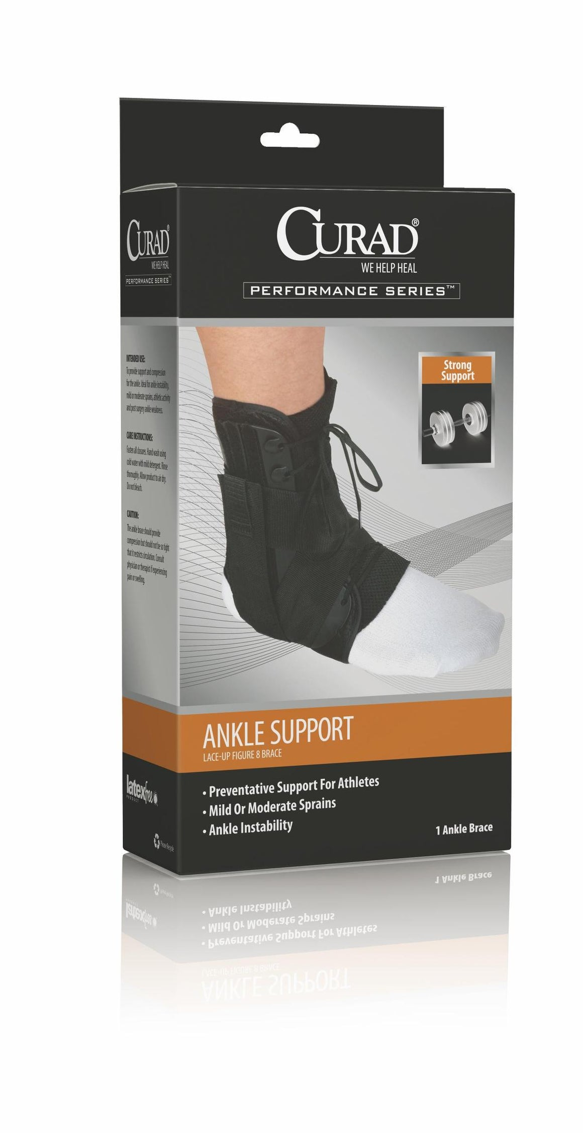 CURAD Lace-Up Ankle Splints,Black,Small, Case of 4
